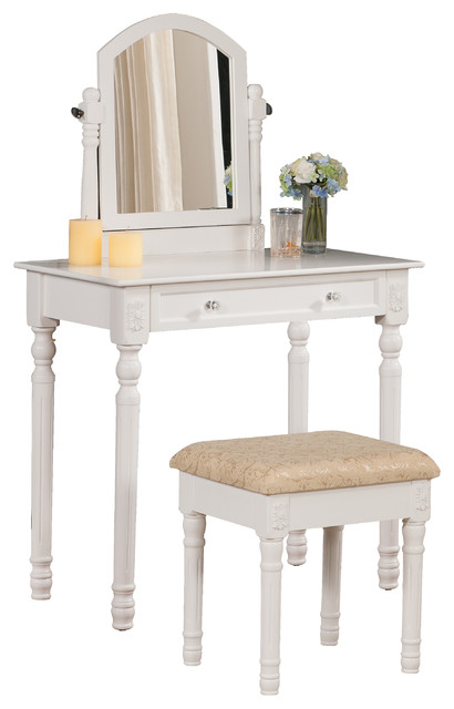 Claudia Wooden Vanity Table And Stool, Set Of 2, White.