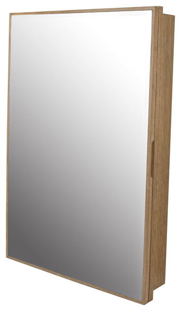 "Peter 23""x33"" Wood Medicine Cabinet With Mirror And Shelf, Weathered Natural."