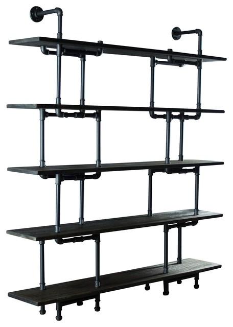 "Vintage 64"" Large Storage 5-Shelf Pipe Bookcase, Black/Brown"