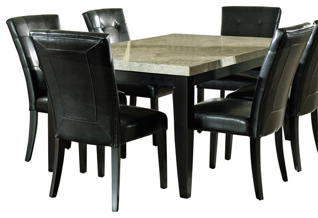 Steve Silver Monarch 7 Piece Marble Top Dining Room Set Sets