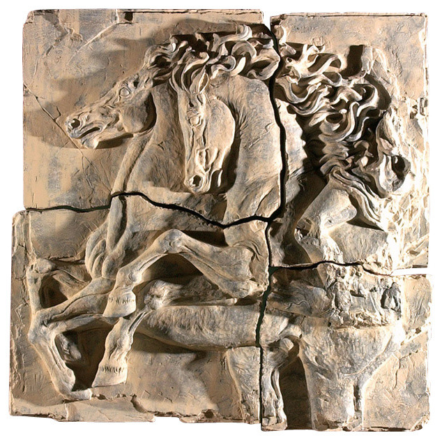 Roman Horses Sculpture 4 Pieces Traditional Wall