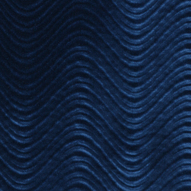 Blue Soft Velvet Wavy Swirl Upholstery Velvet By The Yard