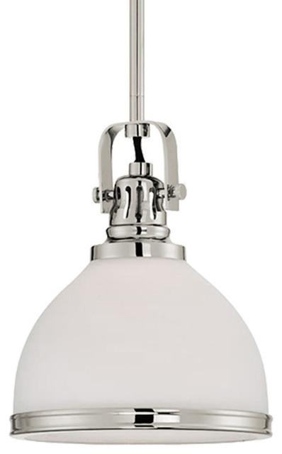 "Fenway 8"" White Opal Glass Pendant Light Vented Socket Trim Ring Polished Nickel."