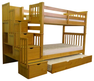 Bunk Beds Tall Twin Over Twin Stairway Honey Trundle Transitional Bunk