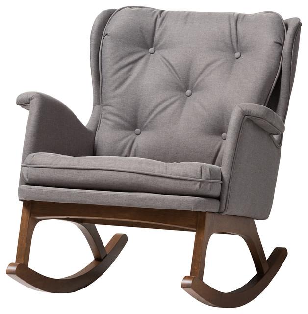 Astonishing Maggie Mid Century Modern Gray Fabric Upholstered Walnut Finished Rocking Chair Ibusinesslaw Wood Chair Design Ideas Ibusinesslaworg
