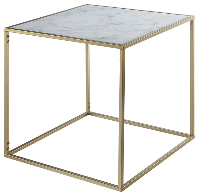 Good Gold Coast Faux Marble End Table Contemporary Side Tables And End