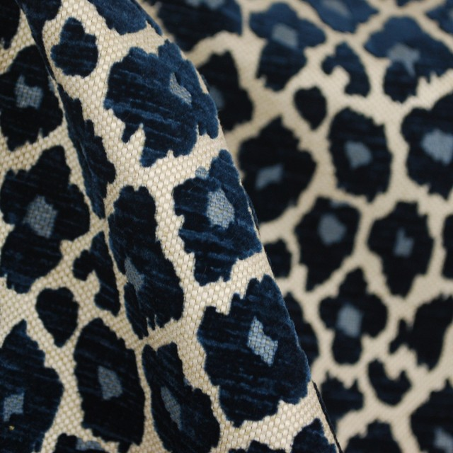 Simba Navy Blue Chenille Upholstery Fabric Traditional