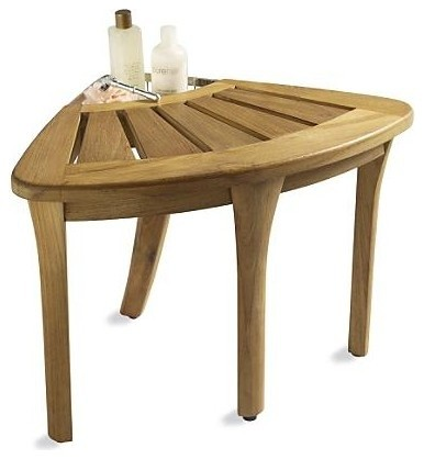 All Teak Wood Corner Stool - Contemporary - Shower Benches & Seats ...