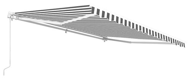 Aleko Retractable Patio Awning, 12&x27;x10&x27;, Gray/white.
