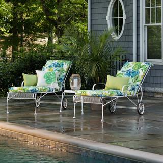 Soleil Blue Green Chaise Lounge Cushion Tropical