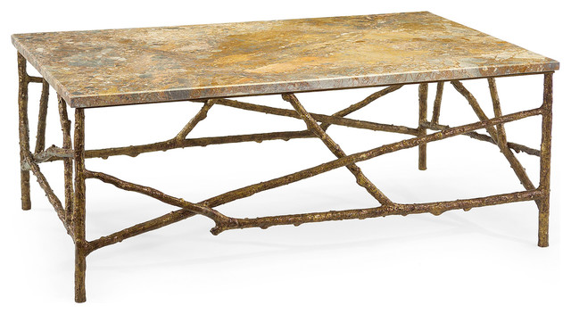 Modren Transitional Coffee Tables Lodge Antique Gold Marble Branch Table Coffeetables To Design