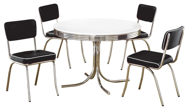 Superieur Retro Round Table Cushion Chair Chrome Dining 5 Piece Set, White/Black