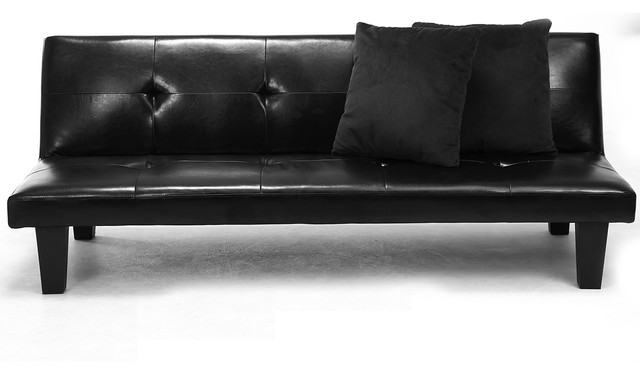Black Leather Faux Fold Down Futon Lounge Convertible Sofa Bed Couch,  2-Pillow