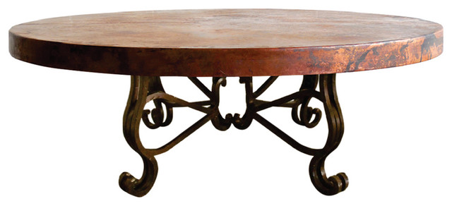 Round Iron Hand Hammered Copper Top With Round Corners Coffee Table  Mediterranean Coffee Tables