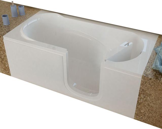 Meditub 30x60 Right Drain White Soaking Step In Bathtub.