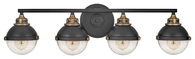 Hinkley Fletcher 4 Light 7 Bathroom Vanity Light In Black Traditional Bathroom Vanity Lighting By Lighting New York