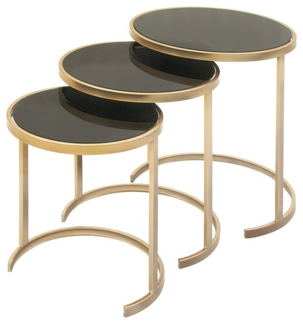 Metal And Glass Tables, 3-Piece Set, Black, Gold.