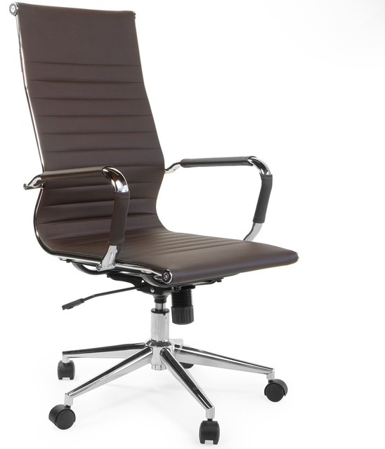 Modern High Back Ribbed Pu Leather Adjustable Office Chair With Wheels Chocolate.