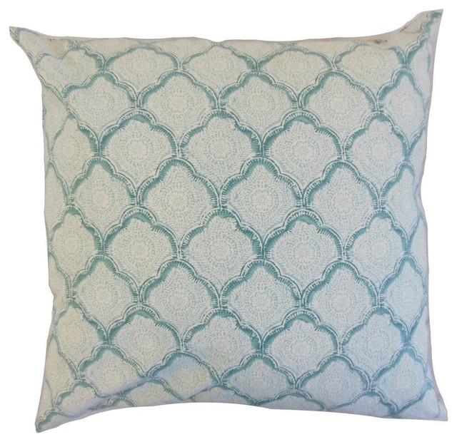 """Padma Geometric Pillow, Aqua Mist 18""""x18""""."""