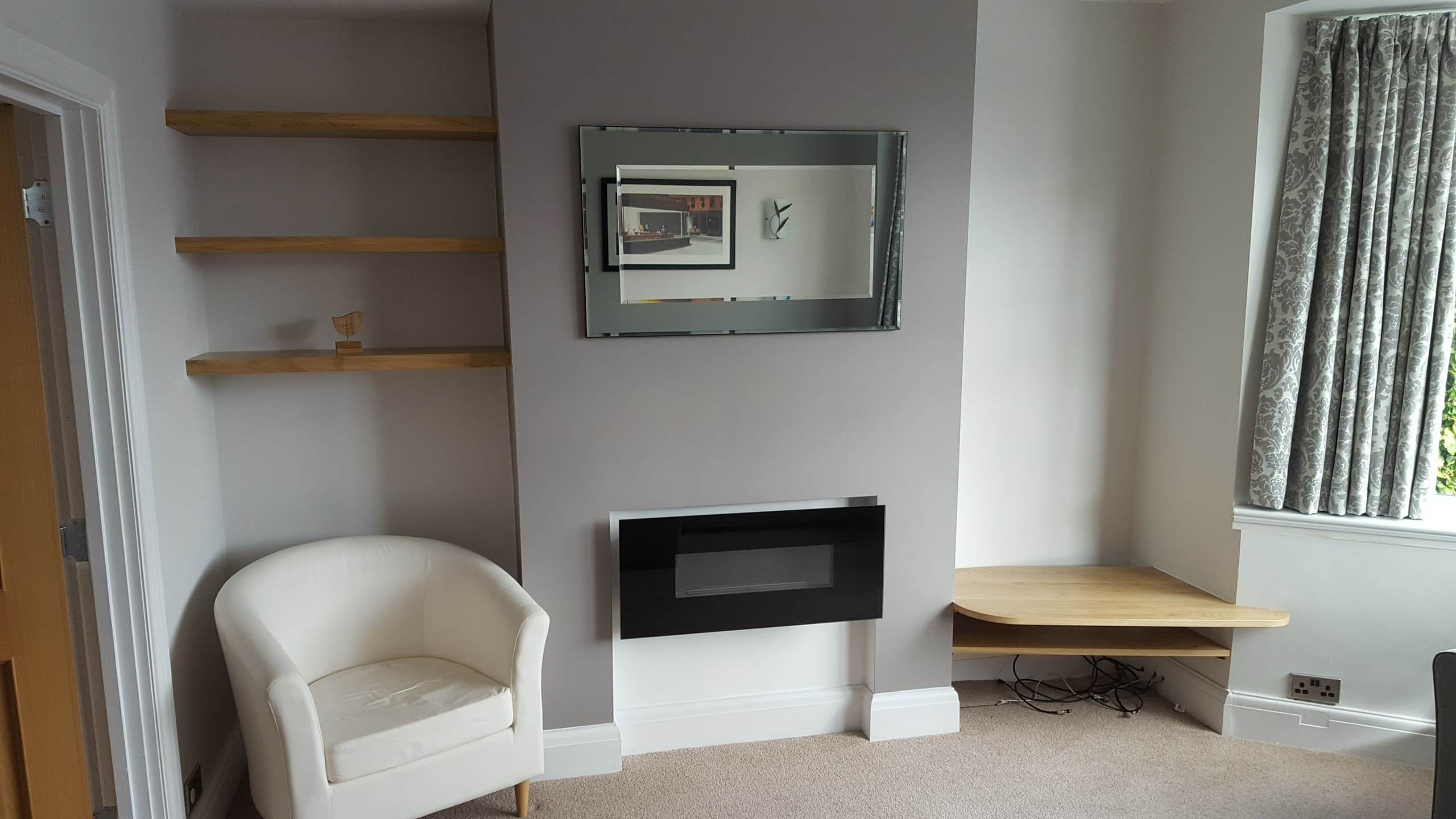 Alcoves Chunky Oak Floating Shelves and Curved TV Shelf