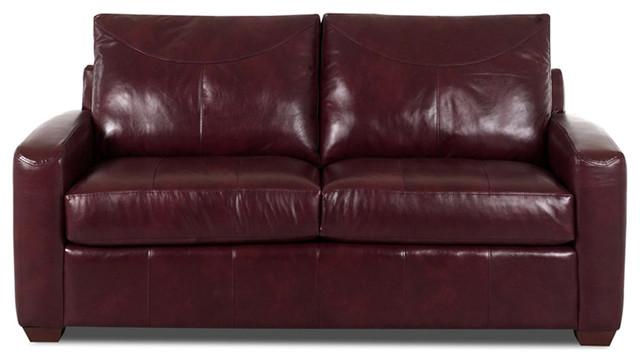 Boulder Leather Full Sleeper Sofa in Durango Burgundy