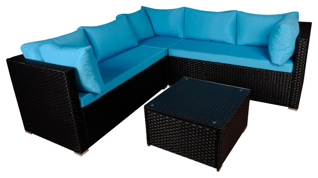 Modern Outdoor Garden Sectional Wicker Sofa Set With Coffee Table, Black &  Blue - Modern Outdoor Garden Sectional Wicker Sofa Set With Coffee Table