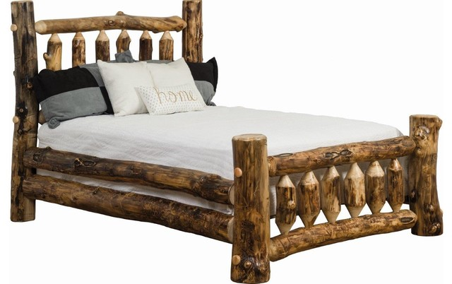 Rustic Aspen Log Mission Bed Rustic Panel Beds By Furniture