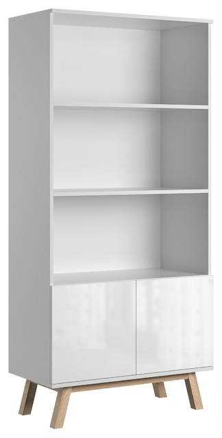 Vero White Gloss 3-Shelf Scandinavian Bookcase