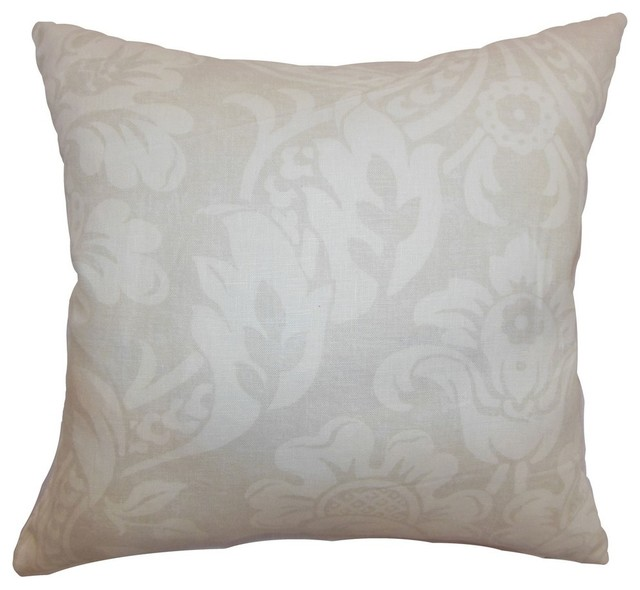 Marcail Floral Pillow Neutral - Contemporary - Decorative Pillows - by The Pillow Collection