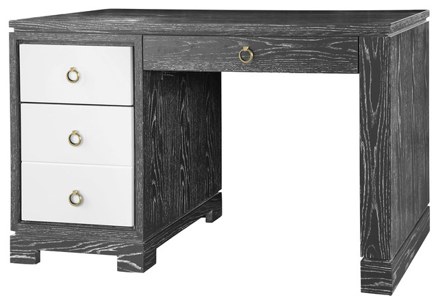 Booker Modern Classic Limed Gray White Lacquer 4 Drawer Desk Desks And
