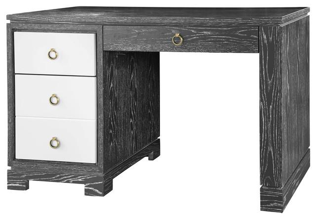 booker modern classic limed gray white lacquer 4 drawer desk moderndesks and