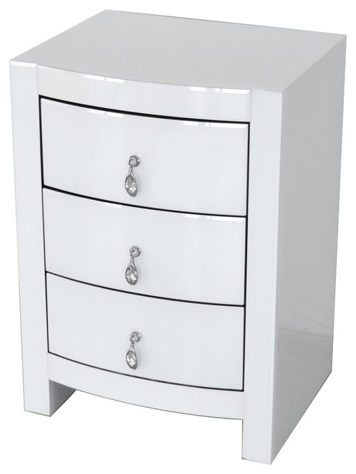 Hot Curved White Glass Chest