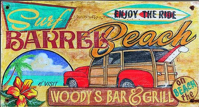 Vintage Beach Signs Woody S Surf Bar And Grill Tropical Prints And Posters By My Barnwood Frames