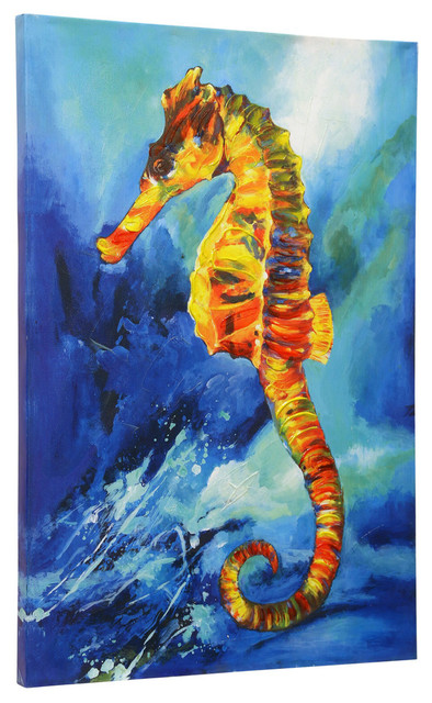 Textured Sea Horse, Hand Embellished Print, Stretched Canvas Wall Art