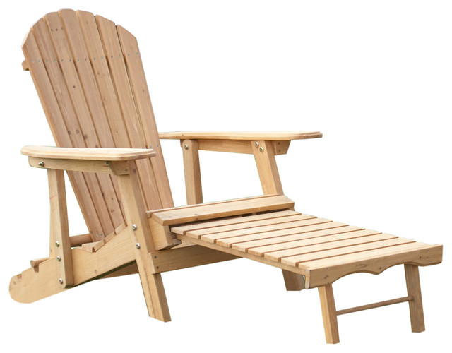 Reclining Adirondack Chair With Pull Out Ottoman In Natural Fir Wood  Contemporary Adirondack