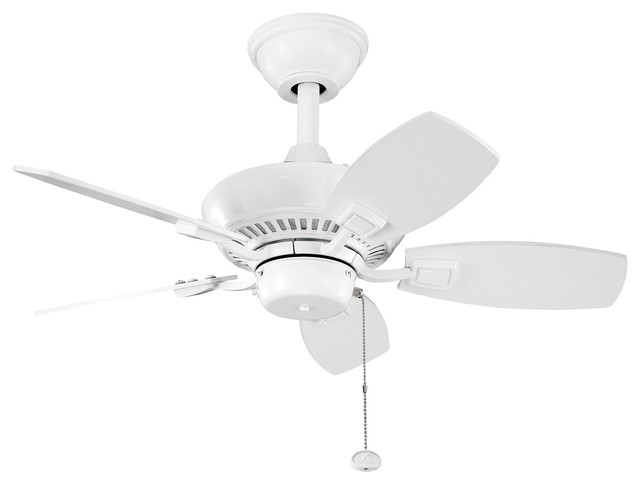 "Kichler Ceiling Fan With 5-Blades, 30"", White."