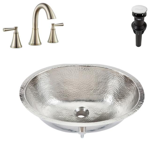 Pavlov Undermount Nickel Bath Sink, Pfister Cantara Faucet and Drain