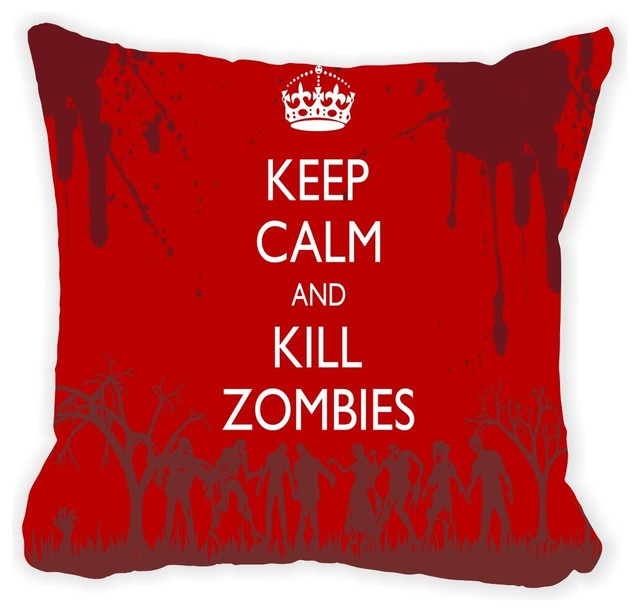 Keep Calm And Kill Zombies On Grunge Red Microfiber Throw Pillow No Fill