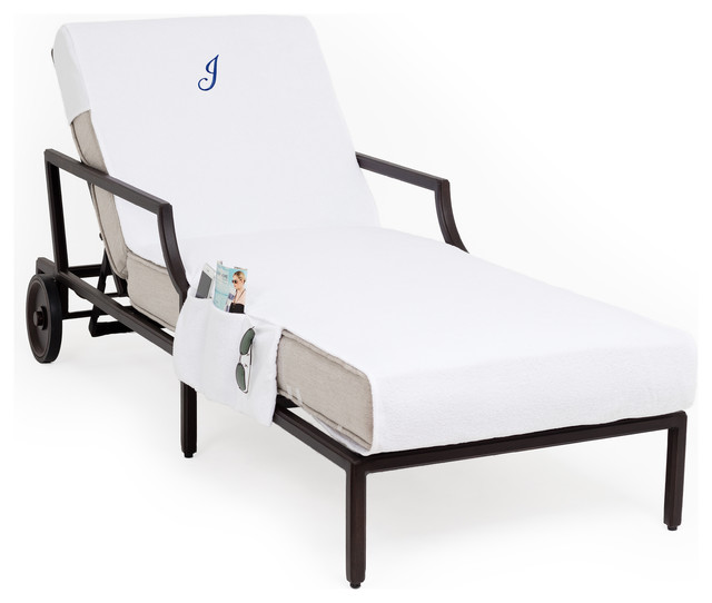 Personalized Standard Chaise Lounge Cover With Side Pockets, White, J.
