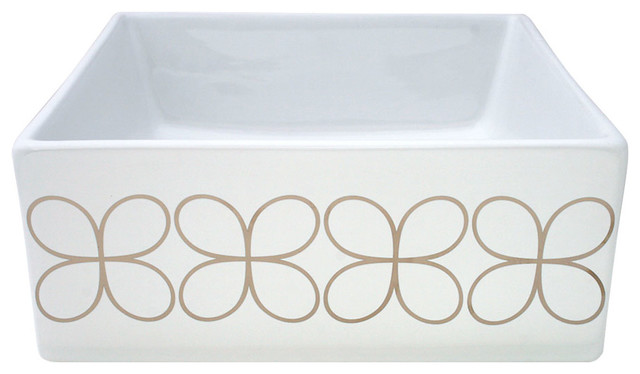 "Cloverleaf Hand-Painted Vessel Sink, Platinum, 15""."