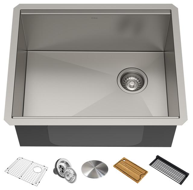 """Kore Workstation 33"""" Undermount Stainless Steel 1-Bowl Kitchen Sink, Accessories"""