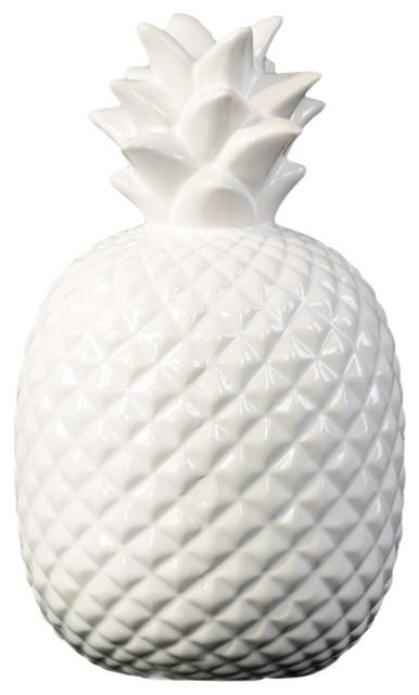 Gloss White Urban Trends Ceramic Pineapple Figurine with Embossed Lattice Design