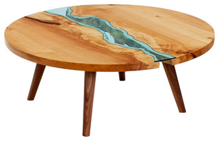 Round river coffee table southwestern coffee tables for Southwestern coffee table
