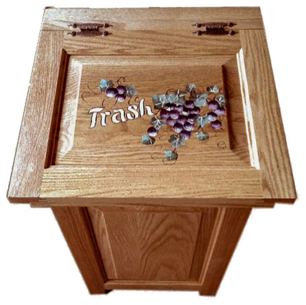 Solid Oak Amish Trash Can With Hand-Painted Top, 20 Gallon, Grapes