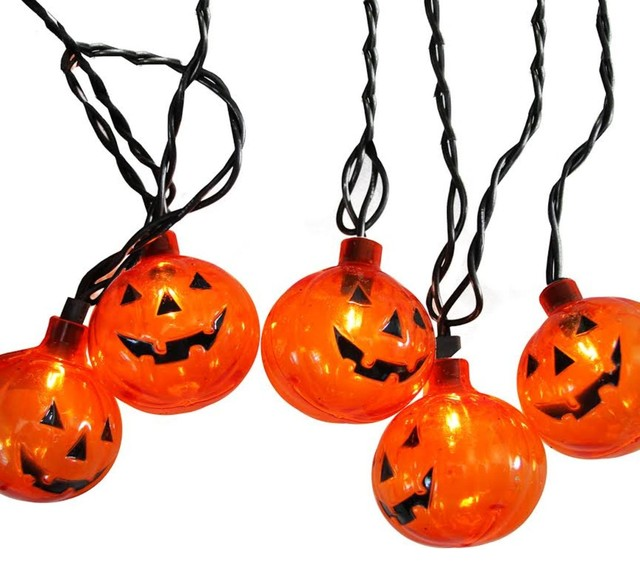 Set Of 10 Transparent Orange Pumpkin Halloween Lights,  Black Wire.