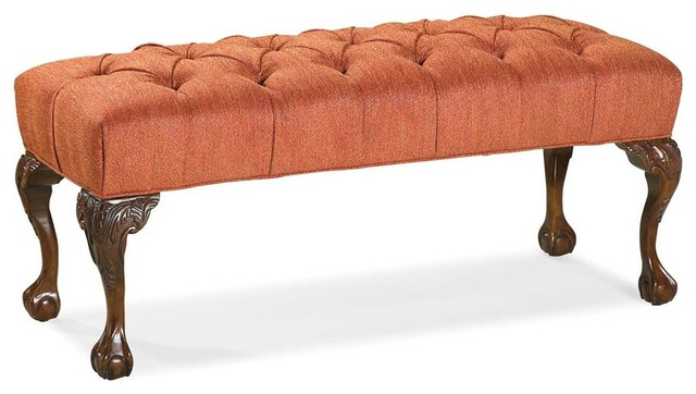 Tufted Seat Bench (leather: Red).