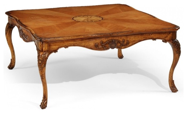 Jonathan Charles Versailles Light Satinwood 44 Square Coffee Table Victorian  Coffee Tables