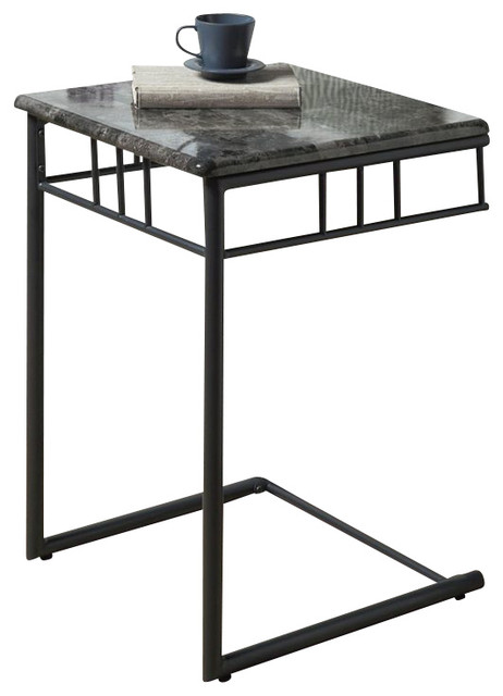accent table gray marble charcoal metal