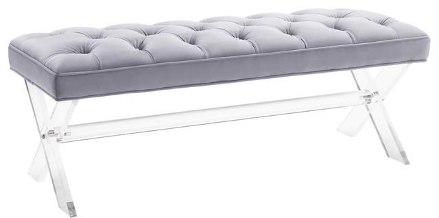 Claira Lucite Bench, Grey Velvet.
