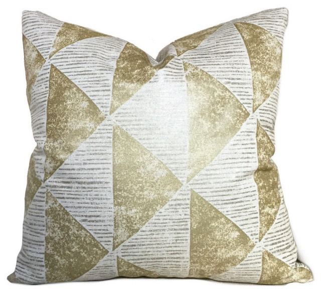 Metallic Gold Triangles Geometric Throw Pillow Cover - Decorative Pillows - by Aloriam